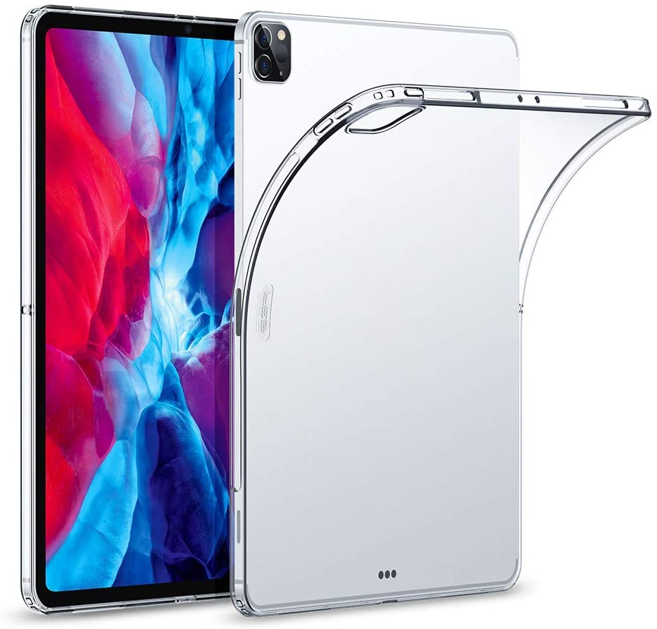 "ESR Rebound Soft Shell Case for iPad Pro 12.9"" 2020 & 2018, Clear TPU Back Cover, Supports Pencil Wireless Slim-Fit Shell Case, for iPad Pro 12.9"", Translucent"