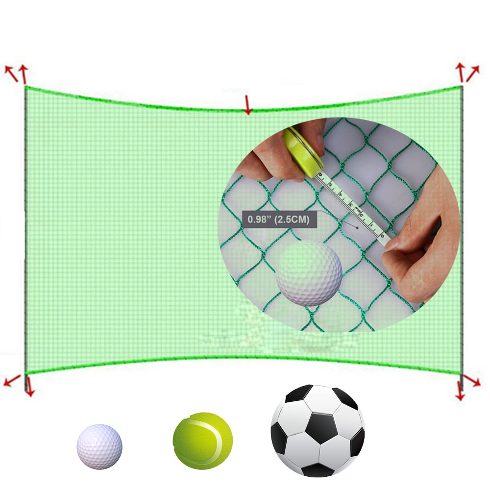 10' High X 10' Wide Golf Barrier & Containment Netting, For Golf Baseball Softball Hockey Lacrosse Soccer Basketball Tennis Multipurpose-Free 100pcs Zip Ties Cable
