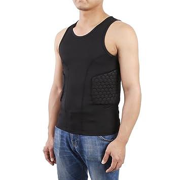 Chaleco deportivo para hombre de Zicac de color negro con acolchado de compresión en