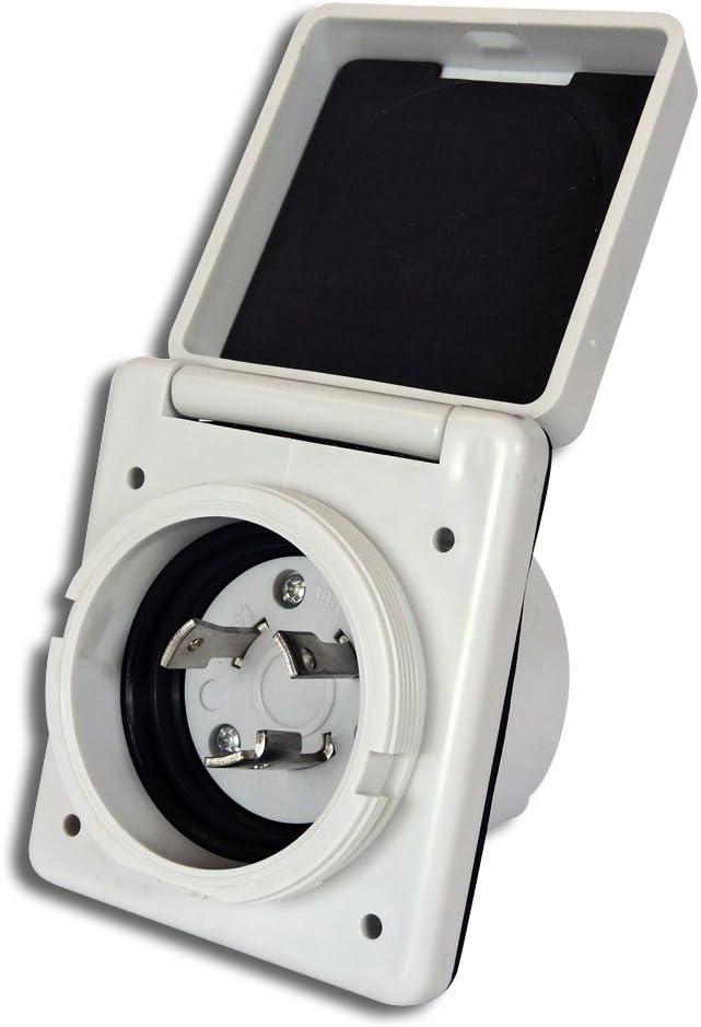 Leisure Rv 125V 30 Amp Power Plug Twist Lock Inlet mit 3 Stainless Steel Pins, White