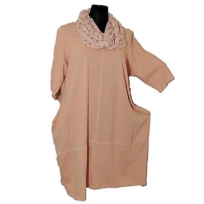 -Kleid-Shirtkleid-Shirt-mit-Loop-Cotton-Kurzarm-Lagenlook-lachs-Gr. 46-48