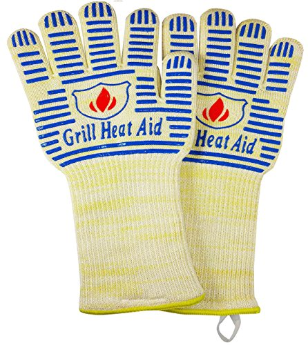 "Extreme Heat BB Grill Gloves for Baking, Grilling, Oven Use – Protection Up To 932°, 14"" Long (Father's Days Limited Sale Price)"