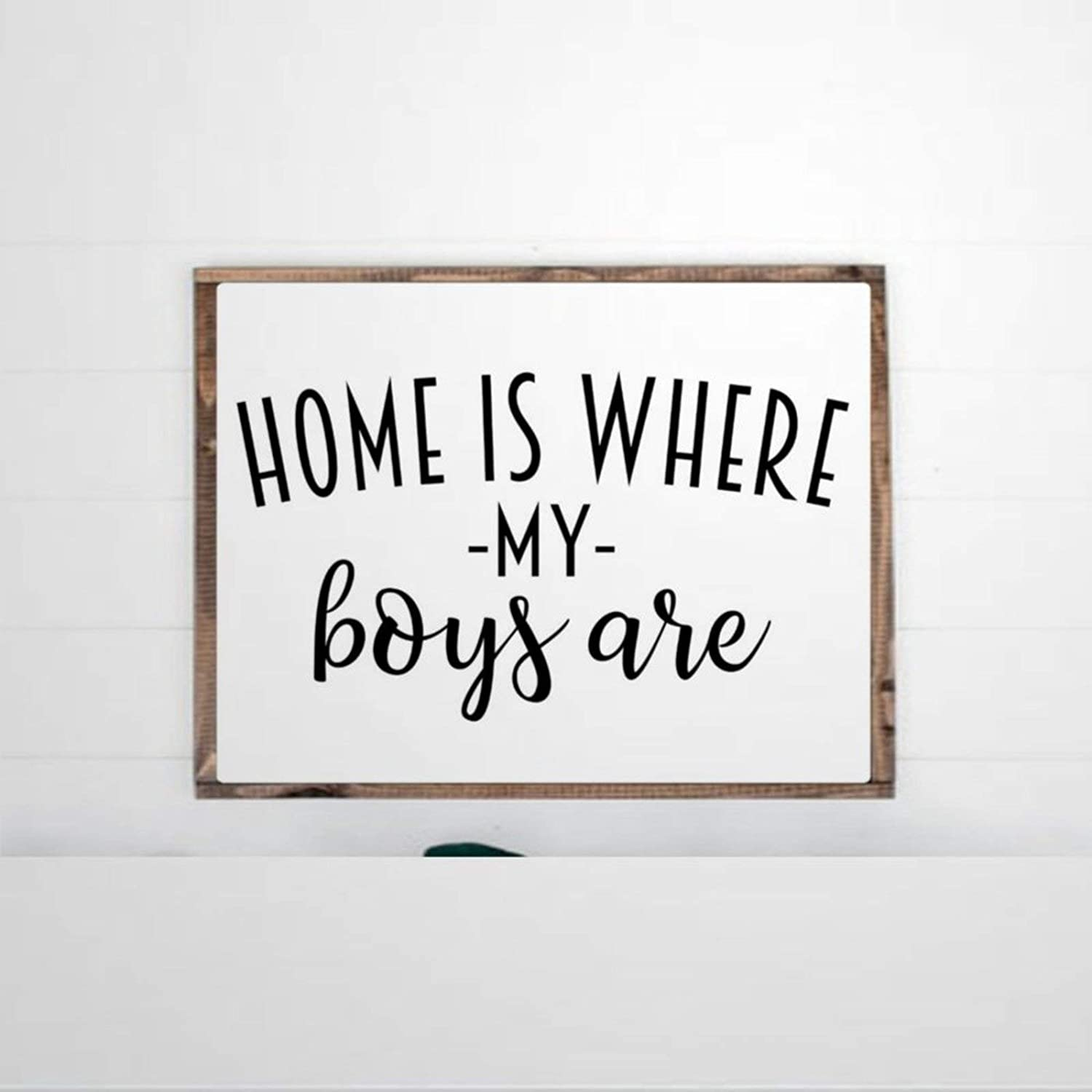 DONL9BAUER Framed Wooden Sign Home is Where My Boys are Wall Hanging Farmhouse Home Decor Wall Art for Living Room 8X12