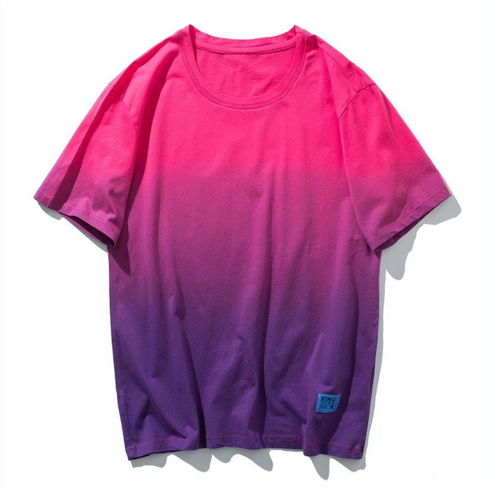 Sport T-Shirt Männer Gradient Baumwolle Kurzarm Breathable Sweat Fitness Reiten Wandern T-Shirt,XXXL