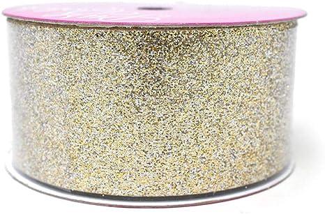 Metallic Glitter Christmas Ribbon 1-1//2-Inch 4-Yard