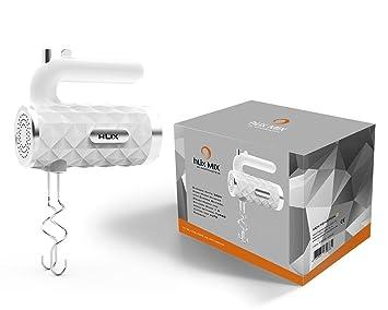 hLix MIX - Blanco diamante 300W Batidora de mano con varillas cromadas, ganchos para masa y varillas de globo + 5 ajustes de velocidad, botón TURBO y AUTO: ...