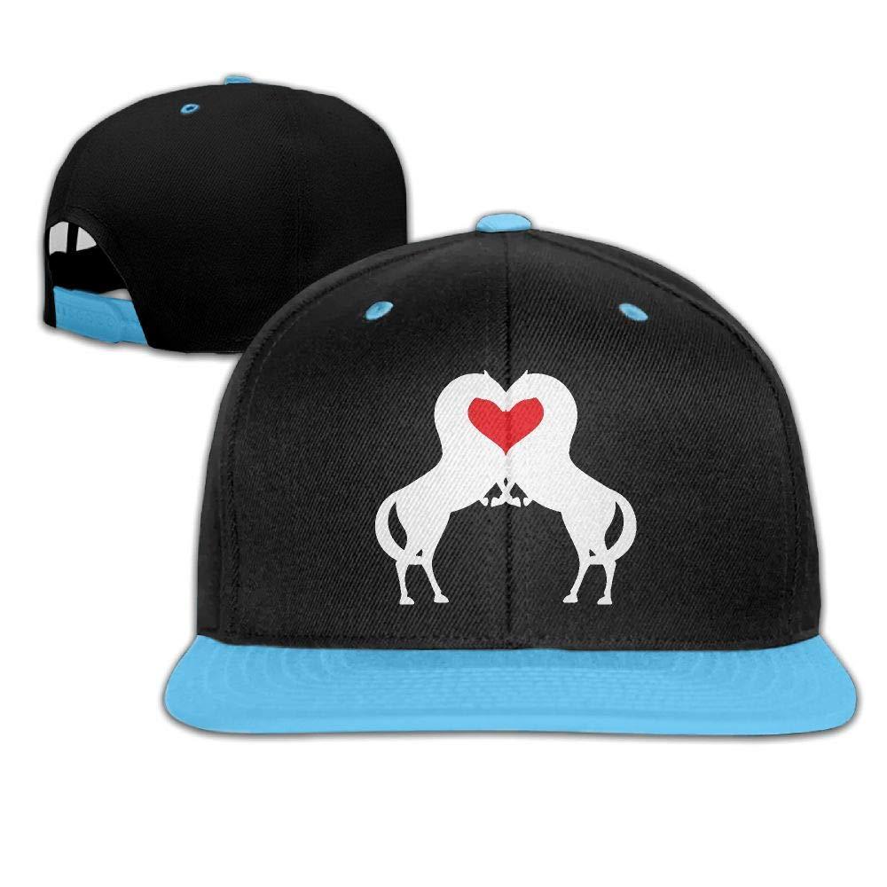 Youth Girls Horse Red Heart Baseball Caps Snapback Flat Bill Cap
