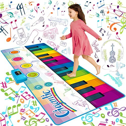 SUNLIN Giant Floor Piano Mat, 24 Keys Keyboard Play Mat, Jumbo Musical Instrument Toys Gift for Boys Girls Kids Toddlers (71″x29″) – Dance Mat with Record, Playback, Demo, Education Toys for Age 3+