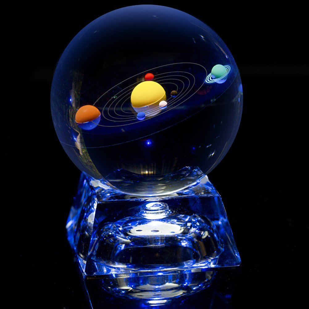 Erwei Solar System Mini Crystal Ball 80 mm (3 in) with Crystal LED Base Colorful Cosmic Model by Erwei
