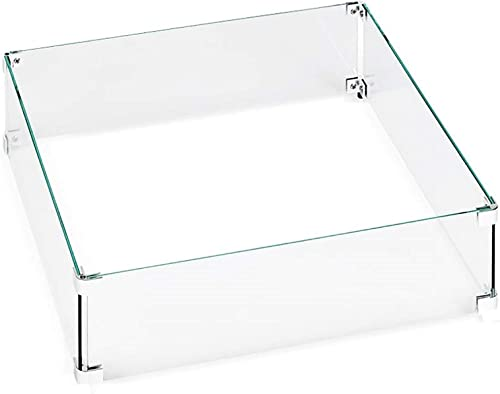 Hiland AWS-SQ22 Fire Pit Glass Square Wind Screen