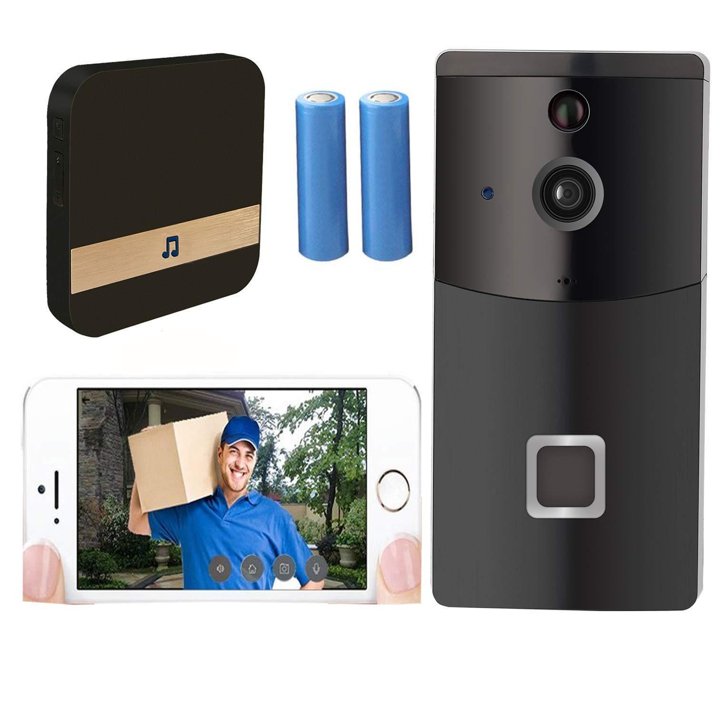 Video Türklingel, Doorbell 720P HD Wifi Überwachungskamera, Mit Glockenspiel Und Akku, Echtzeit-Video-Und Zwei-Wege-Gespräch, Nachtsicht, PIR Bewegungserkennung Und App-Steuerung Für Ios Und Android