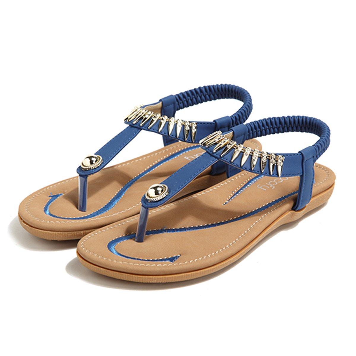 Socofy Bohemian Sandals,Women's Metal Elastic Flat Sandals Summer Bohemia Style Clip Toe Flip Flops Shoes Blue 9 B(M) US by Socofy (Image #3)
