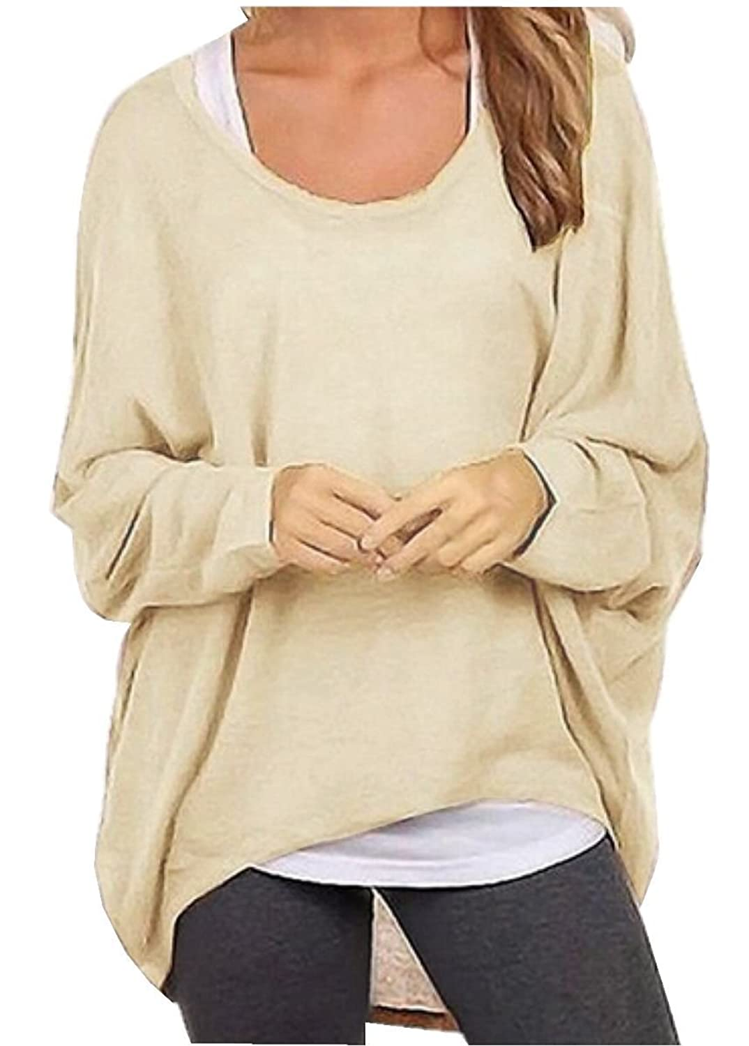 Uget Women's Casual Oversized Baggy Off-Shoulder Shirts Batwing ...