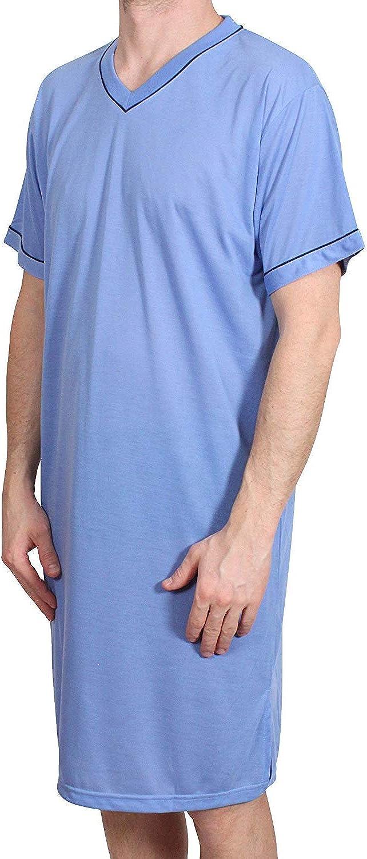 Hombre Camisón Corto Liso Pijama Sleepshirt Ropa de Dormir Algodón ...