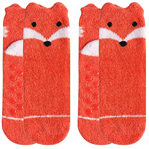 Winter Slipper Socks,Womens Girls Fuzzy Soft Cartoon Funny Animal Orange Fox Fashion Patterned Anti Slip Resistant Sole Cute Novelty Crew Socks Vive Bears 2 Pairs