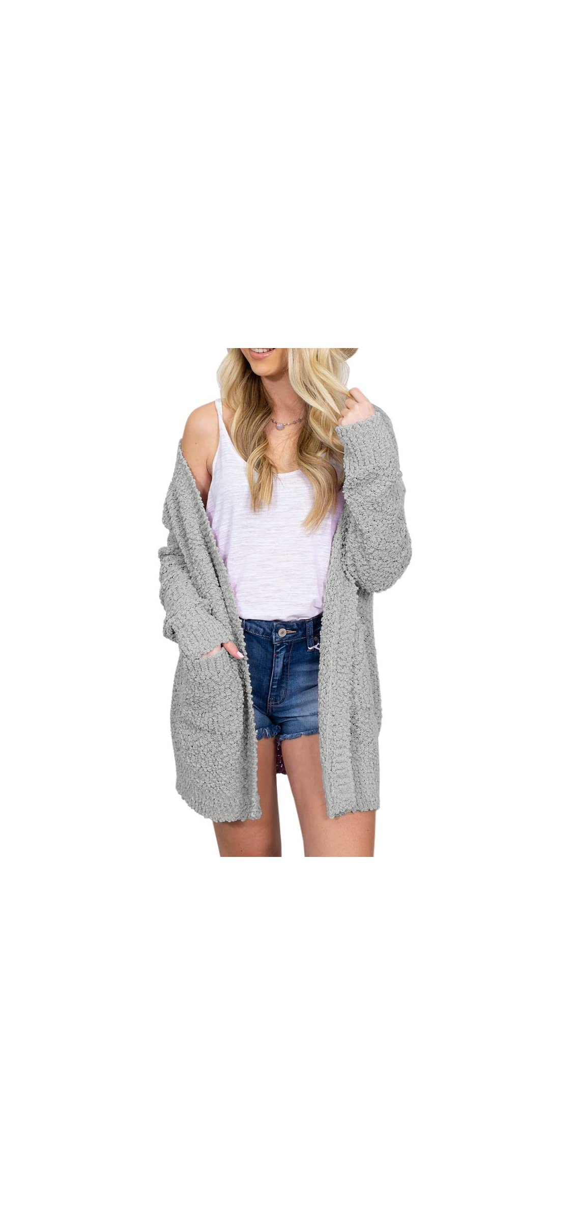 Womens Plus Size Loose Boho Fuzzy Open Front Long Cardigans
