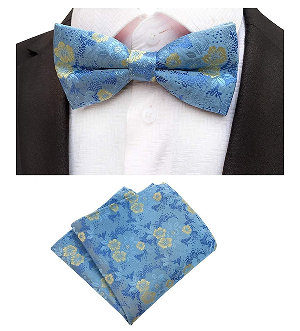 BESMODZ Mens Jacquard Woven Silk Tie Floral Bow Ties Pocket Squares Wedding Set
