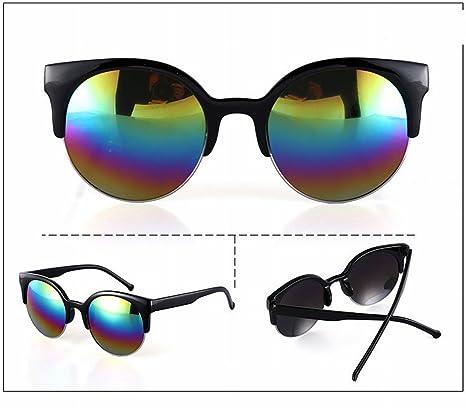 Retro Metall Halbe Rahmen Katze Auge Runde Box Sonnenbrille Sonnenbrille Männer und Frauen Brille , Helles Schwarzes Graues Blatt