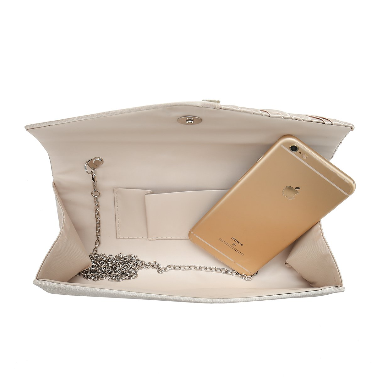 Charming Tailor Evening Handbag Crystal Embellished and Pleated Satin Clutch (Champagne) by Charming Tailor (Image #6)