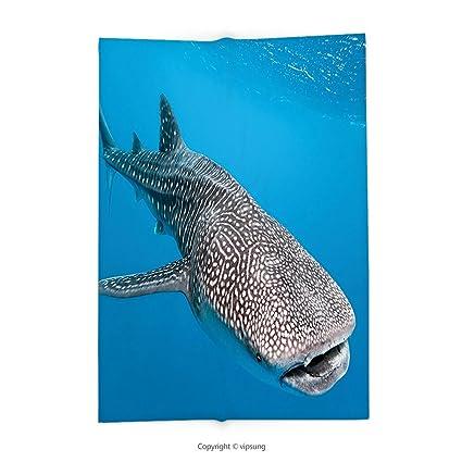 a71b728365 Custom printed Throw Blanket with Sea Animals Decor Whale Shark Swimming  Predators Hunter Clear Water Under