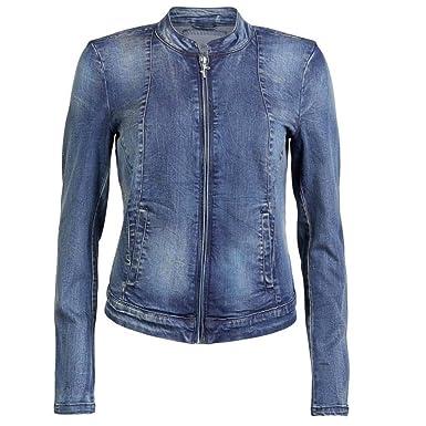 ONLY Damen Jeansjacke Jeans Biker Jacke mit Zip STARLET Biker Denim Jacket  Blau Gr. 42 e85774f88c