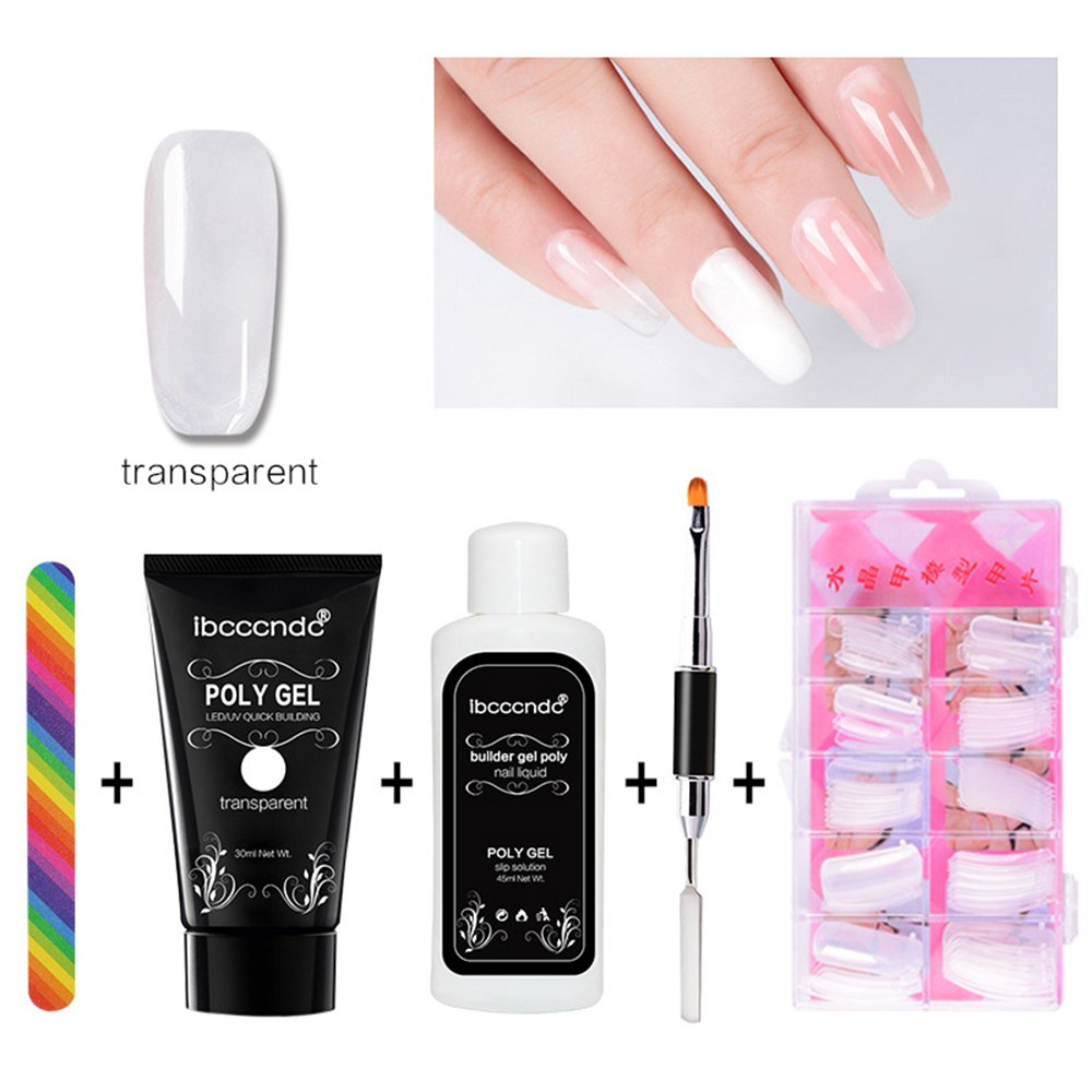 niceEshop(TM) Poly Gel Nail Extension Set, Quick Building Gel + Nail Tips Mold + Nail File + Poly UV Gel Nail Liquid Slip Solution + Poly Gel Nail Brush, Extension Poly Glue Manicure Tool