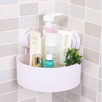 TheBathMart Bathroom Wall Corner Suction Cup Triangle Storage Shelves Rack    White
