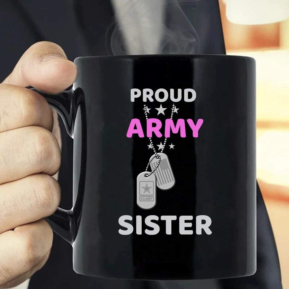 MG global MG Global- Mothers Day Gift- Gift For Mommy- Army Sister Proud Military American Family Flag Dog Tag Coffee Mug