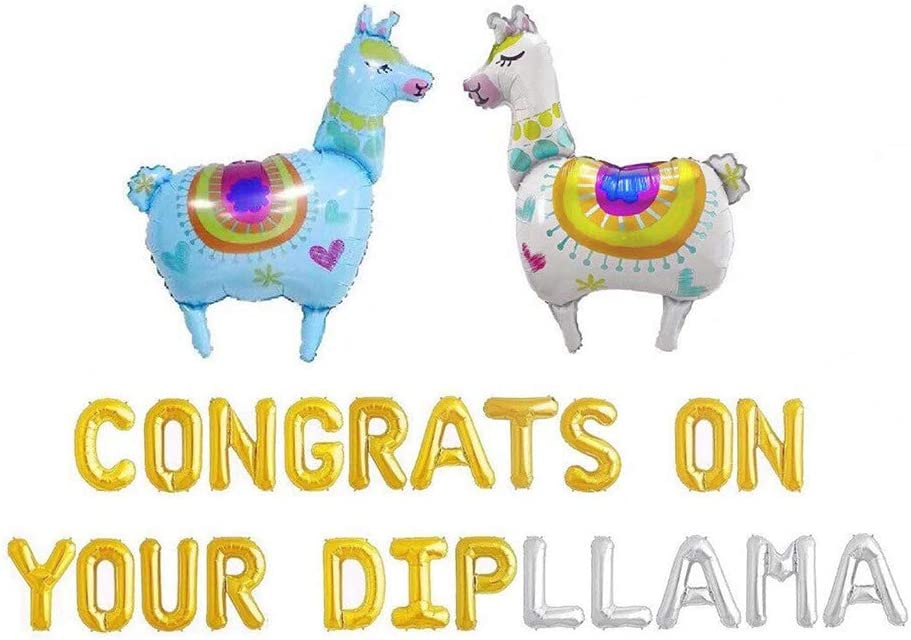 Congrats On Your DIPLLAMA Graduation Decorations, Congrats On Your DIPLLAMA Balloons Llama Fiesta Themed High School Doctor College Class of 2020 Grad Party Banner Garland Decor 26PCS of Qinsly (Blue)
