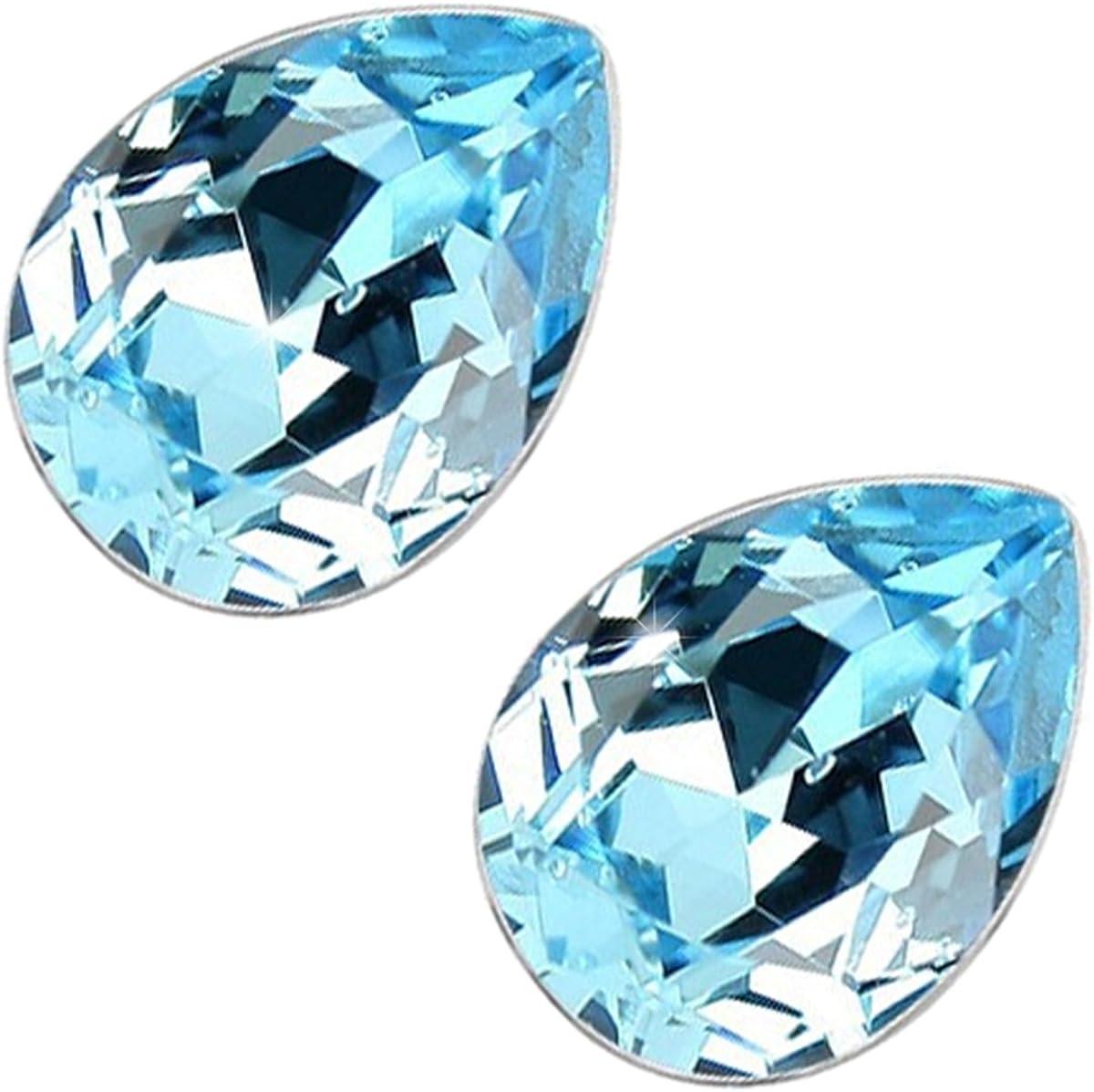 GWG Jewellery Pendientes Mujer Regalo Pendientes, Chapados en Plata de Ley Cristal Brillante Gota de Agua de Colores Varios para Mujeres