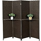 Freestanding Bamboo 4-Panel Partition Room Divider with Removable Shelf, Dark Brown