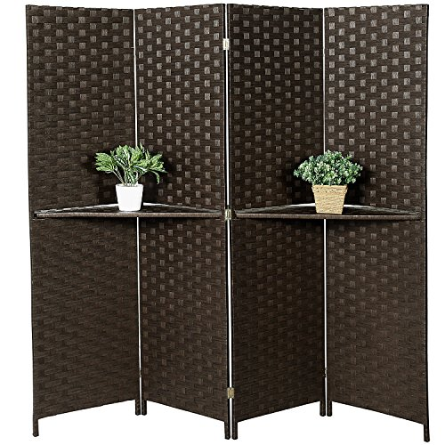 Freestanding Bamboo 4-Panel Partition Room Divider with Removable Shelf, Dark (Rattan Wall Shelf)