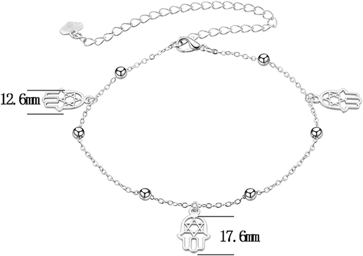 Bishilin Silver Plated Ladies Anklets Silver with Pendant Hamashand Ankle Chain Beach Chain Silver