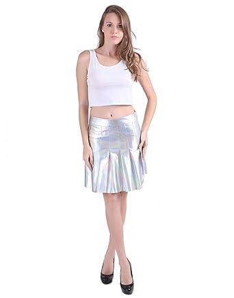 cdc637fafa HDE Women s Holographic Skirt Shiny Wet Liquid Metallic Silver Pleated  Skater  Amazon.co.uk  Clothing