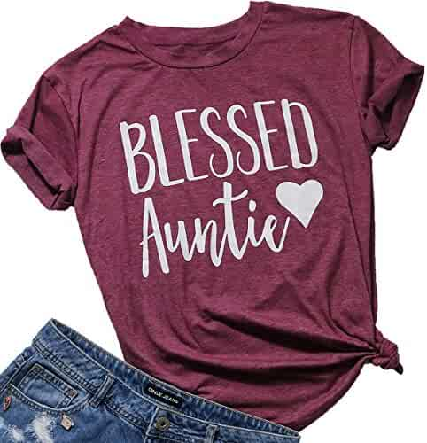 1cf75bd41 FAYALEQ Women Letters Printed T-Shirt Blessed Mama Aunt Short Sleeve Casual  Tops Tees