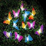 Butterfly Solar String Lights Decorative Multi-color Beautiful Animal Design Light 12 Led for Garden,Lawn,Patio,Wedding,Party,Outdoor Decoration