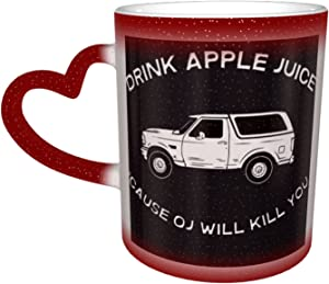 Trioepu Drink Apple Juice Oj Will Kill You Pattern One Piece Magic Color Changing Coffee Mug In The Sky,Ceramic Heat Sensitive Cup