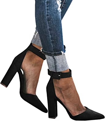 Block Chucky Heel Ankle Buckle Strap Pointed Toe Faux Suede Womens Pumps Shoes
