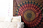 Marubhumi Indian Traditional Hippie Cotton Tapestry, Rainbow Boho Hippie Beach Coverlet Curtain, Wall Hanging,Bohemian Wall Hanging, 90 x 85 Inches (Yellow/Blue (Queen Size))