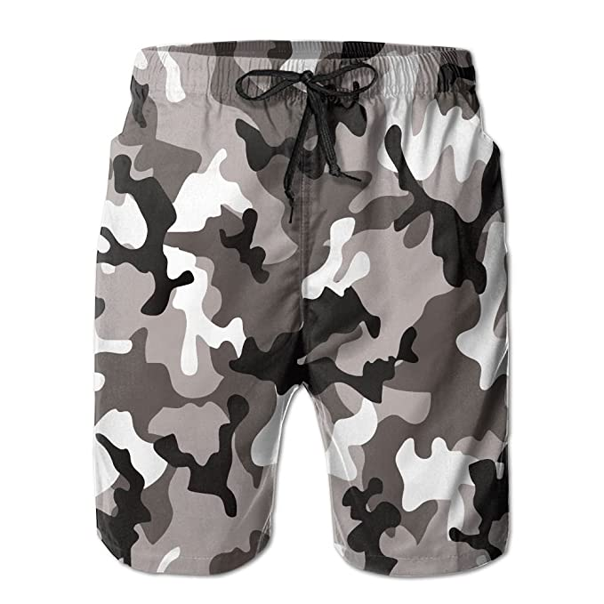 ac64081f7c Amazon.com: Beachsite White Black Art Camouflage Pattern Men's/Boys Casual Swim  Trunks Short Elastic Waist Beach Pants With Pockets: Clothing