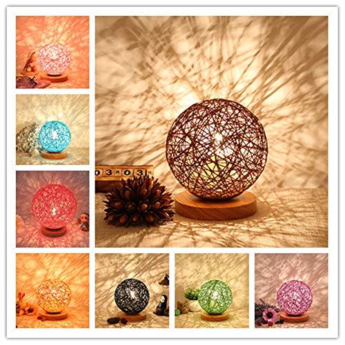 BOKT Minimalist Novelty Romantic Solid Wood Table Lamp for Bedroom Bedside Desk Lamp Home Decor Rattan Ball Lampshade (Beige) by BOKT (Image #3)