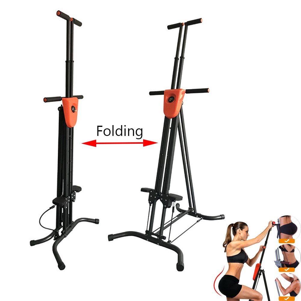 Vertical Climber with Cast Iron Frame and Digital Display As Seen On TV | Full Total Body Workout Fitness Folding Cardio Climber Exercise Machine (2 Extra Resistance Straps Included) by OUTAD (Image #4)