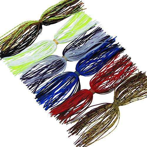 (JSHANMEI 20 Bundles Silicone Skirts Mixed Color Fishing Rubber Jig Skirts DIY Spinnerbatis Buzzbaits Spoon Blade Squid Skirt Fly Tying Material)