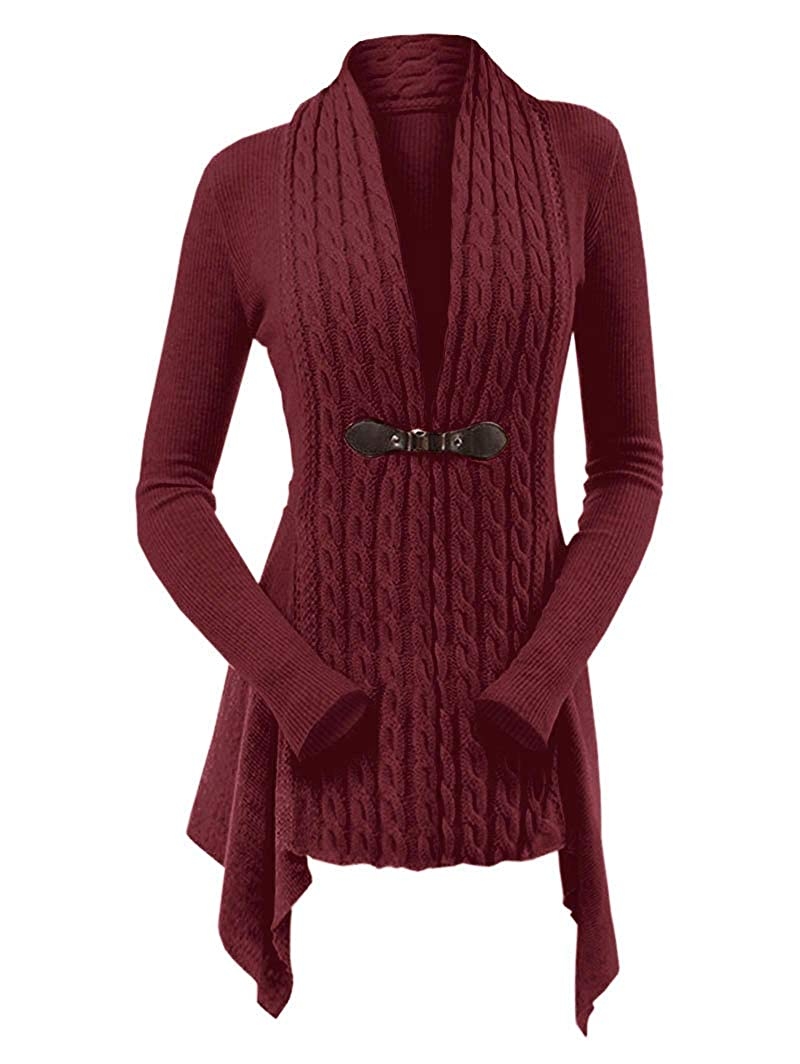 670faf9ba5f DEZZAL Women s Open Front Draped Asymmetrical Long Cable Knit Sweater  Cardigan at Amazon Women s Clothing store