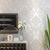 laamei Non-Woven Elegant Damascus Pattern Wallpaper Peel and Stick Wall Papers Decoration for Livingroom Bedroom Kitchen Kids Room