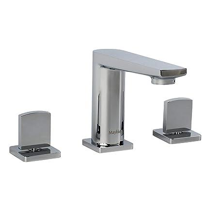 MAYKKE Adalbert 8u0026quot; Widespread Sink Faucet | Modern Three Piece Bathroom  Lavatory Vanity Sink Basin