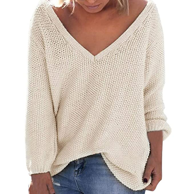 Women Sweater Otoño de la Mujer de Invierno Suelta Mangas largas con Cuello en V Jersey