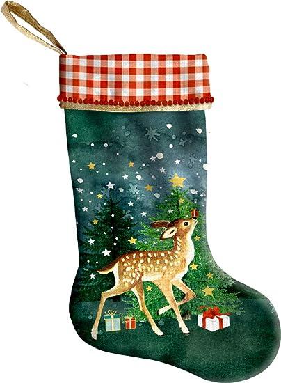 Decoracion de Navidad Santa Claus Papa Noel Calcetin de Chimenea Reno 18x43cm: Amazon.es: Ropa y accesorios