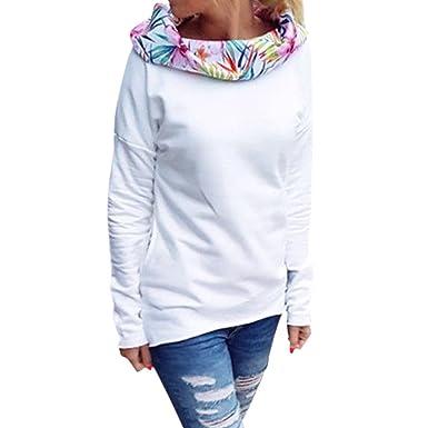 West See Damen Frauen Floral Druck Langarm Sweatshirts mit Kapuze Pullover  Hoodies Weiß Tops Bluse Jumper 299a23371c