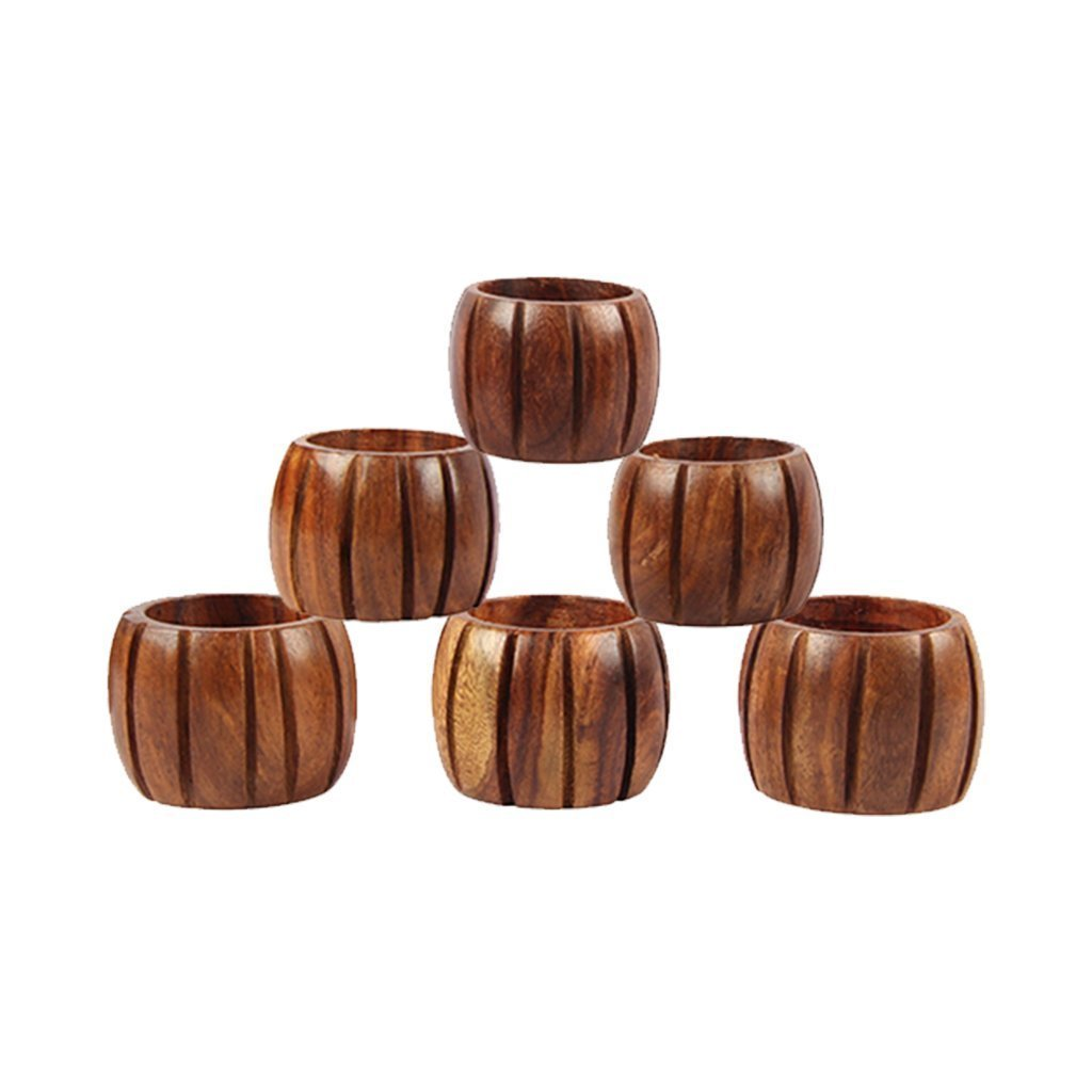 Wooden Handcrafted Set of 6 Napkin Rings Holder Grooved Buckles for Dinner Table Decoration - Aheli Icrafts India